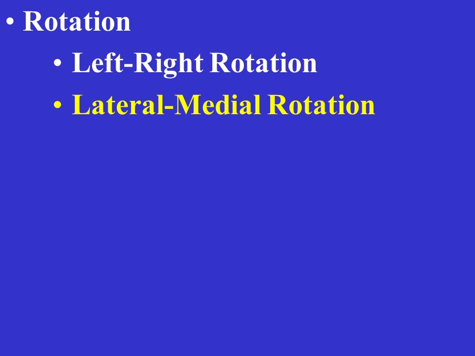Rotation Left-Right Rotation Lateral-Medial Rotation