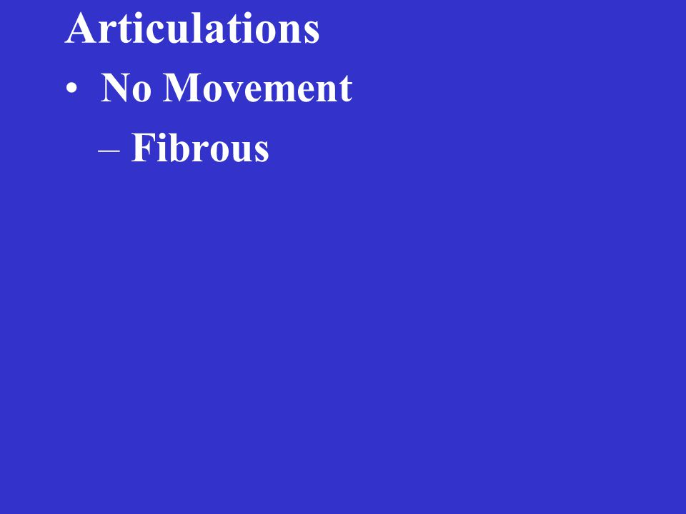 Articulations No Movement – Fibrous – Cartilagenous