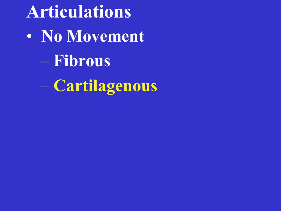 Articulations Freely Movable – Synovial joints