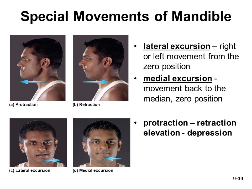 9-39 Special Movements of Mandible lateral excursion – right or left movement from the zero position medial excursion - movement back to the median, z