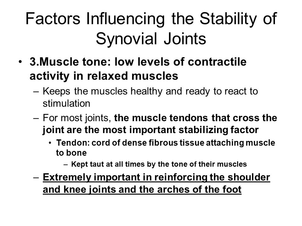 Factors Influencing the Stability of Synovial Joints 3.Muscle tone: low levels of contractile activity in relaxed muscles –Keeps the muscles healthy and ready to react to stimulation –For most joints, the muscle tendons that cross the joint are the most important stabilizing factor Tendon: cord of dense fibrous tissue attaching muscle to bone –Kept taut at all times by the tone of their muscles –Extremely important in reinforcing the shoulder and knee joints and the arches of the foot