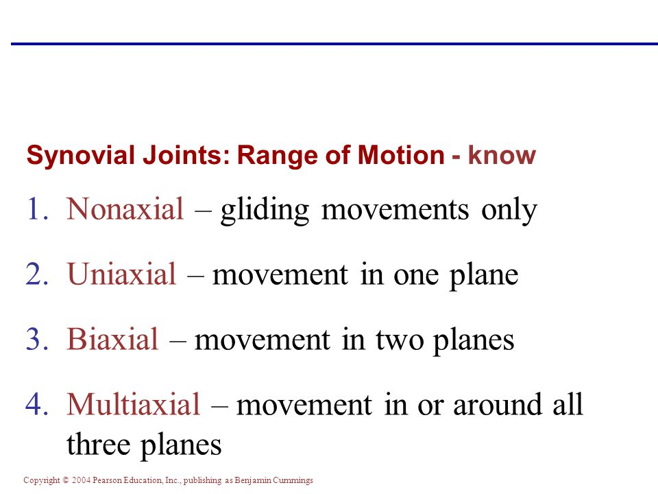 Copyright © 2004 Pearson Education, Inc., publishing as Benjamin Cummings Synovial Joints: Range of Motion - know 1.Nonaxial – gliding movements only