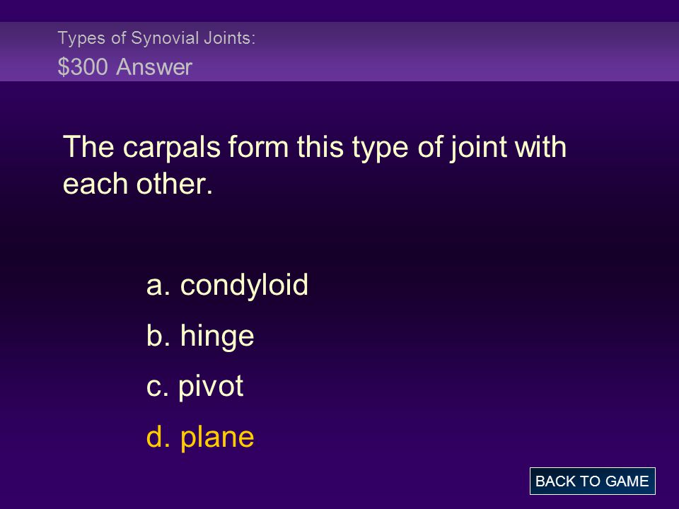 Types of Synovial Joints: $300 Answer The carpals form this type of joint with each other. a. condyloid b. hinge c. pivot d. plane BACK TO GAME