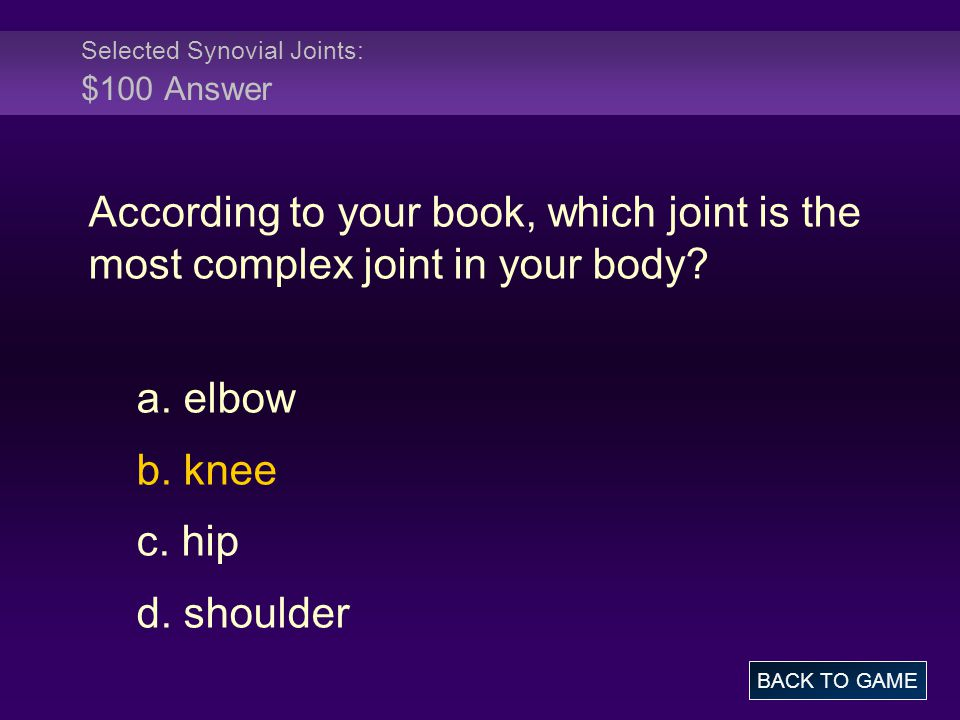 Selected Synovial Joints: $100 Answer According to your book, which joint is the most complex joint in your body? a. elbow b. knee c. hip d. shoulder