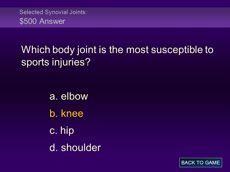 Selected Synovial Joints: $500 Answer Which body joint is the most susceptible to sports injuries? a. elbow b. knee c. hip d. shoulder BACK TO GAME