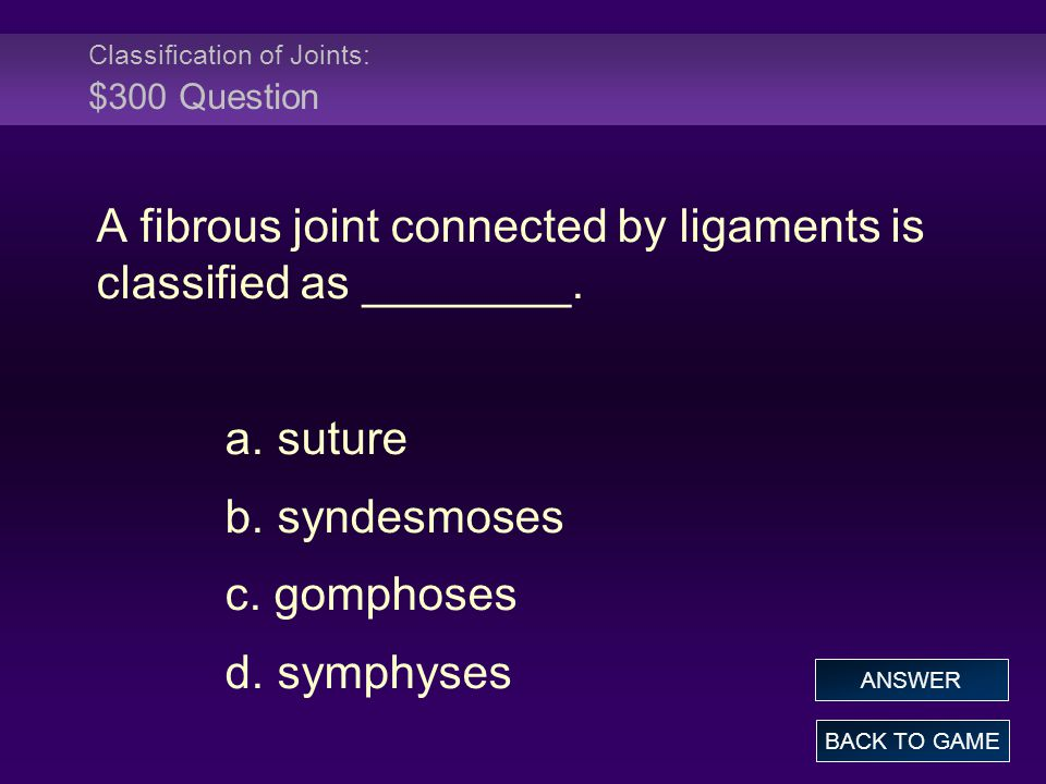 Classification of Joints: $300 Question A fibrous joint connected by ligaments is classified as ________. a. suture b. syndesmoses c. gomphoses d. sym