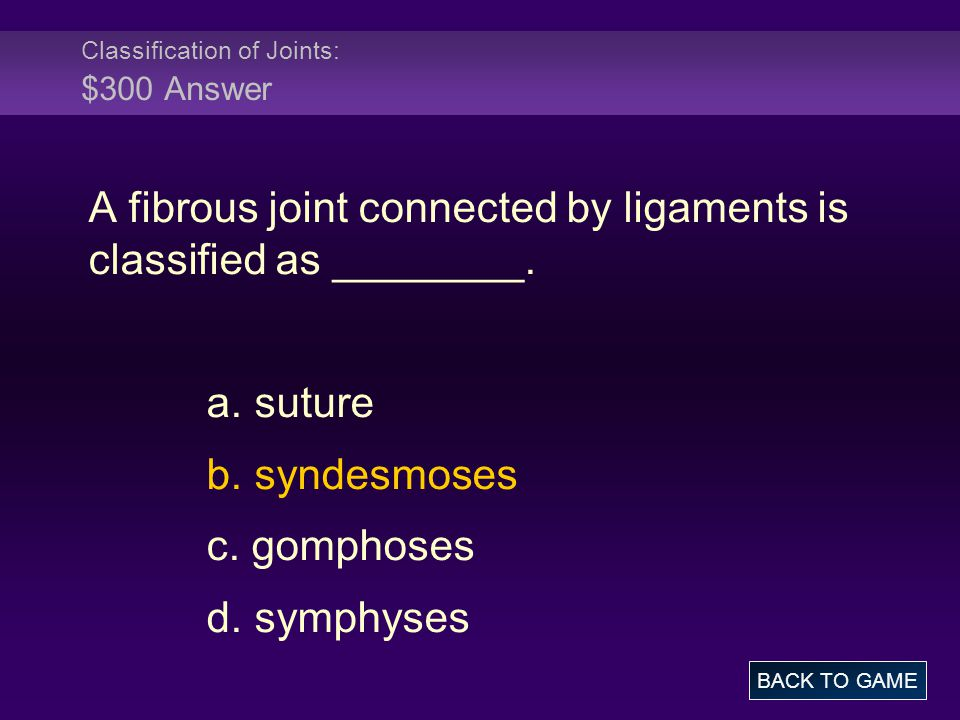 Classification of Joints: $300 Answer A fibrous joint connected by ligaments is classified as ________. a. suture b. syndesmoses c. gomphoses d. symph