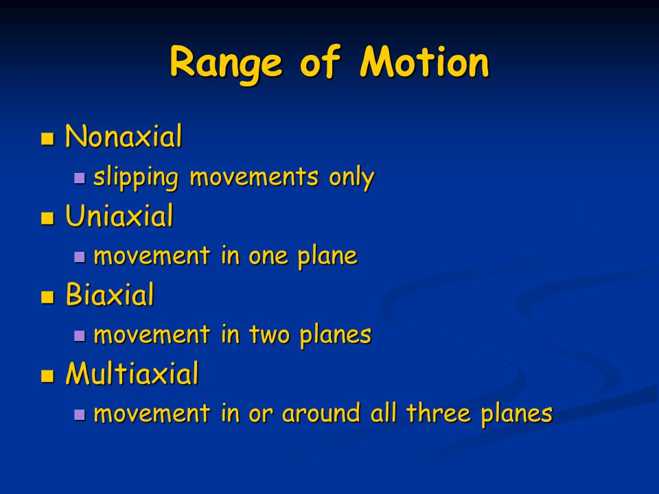 Range of Motion Nonaxial Nonaxial slipping movements only slipping movements only Uniaxial Uniaxial movement in one plane movement in one plane Biaxia