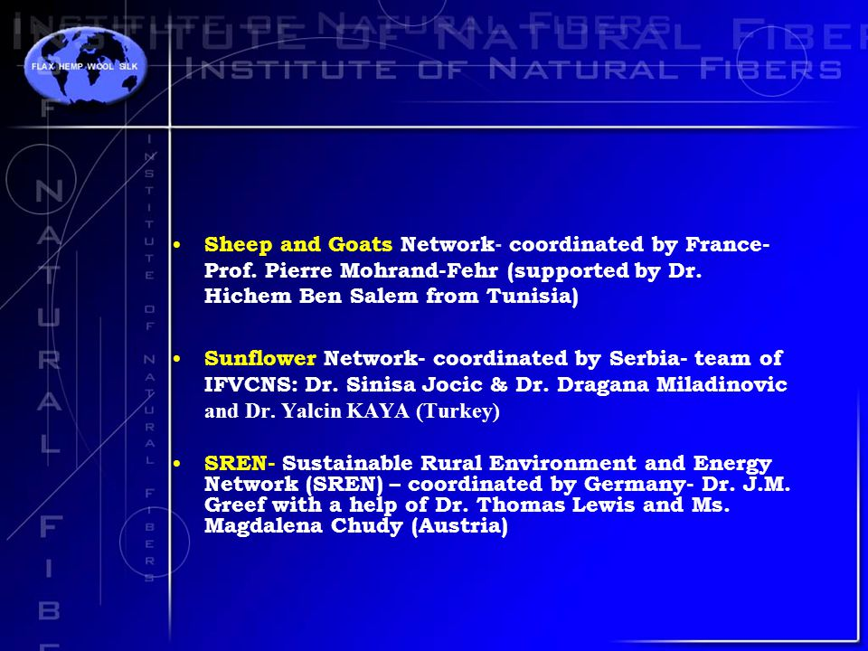 Sheep and Goats Network- coordinated by France- Prof.