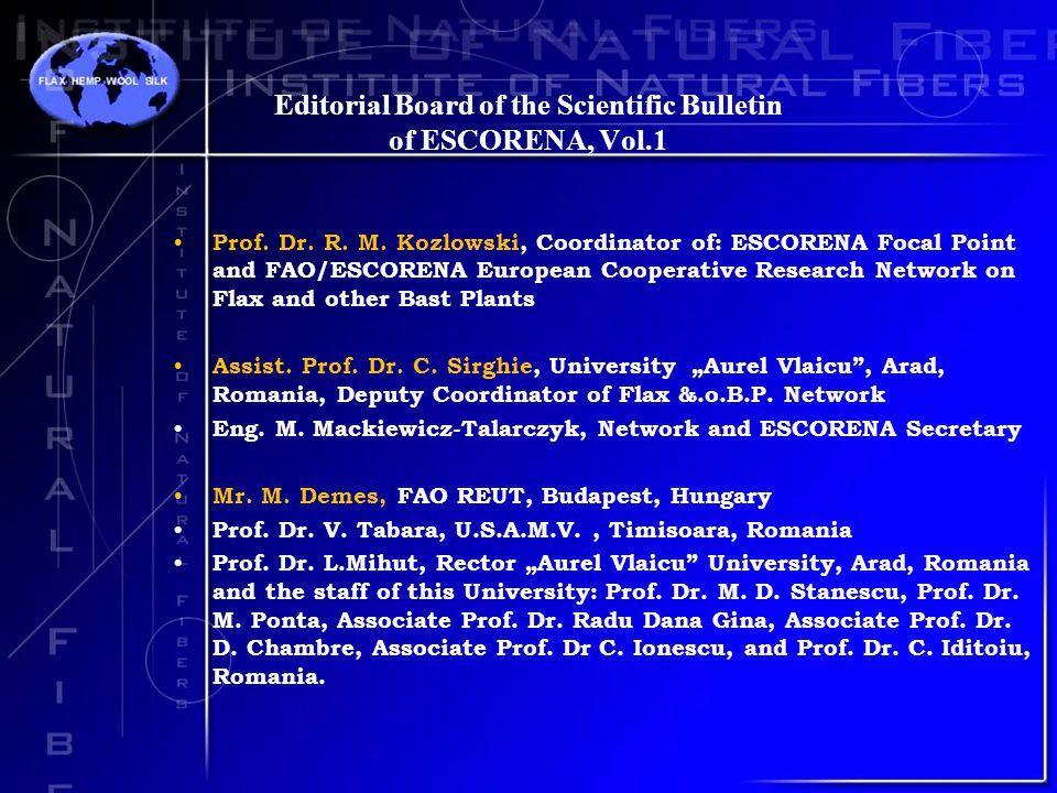 Editorial Board of the Scientific Bulletin of ESCORENA, Vol.1 Prof.