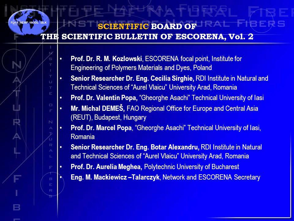 SCIENTIFIC BOARD OF THE SCIENTIFIC BULLETIN OF ESCORENA, Vol.