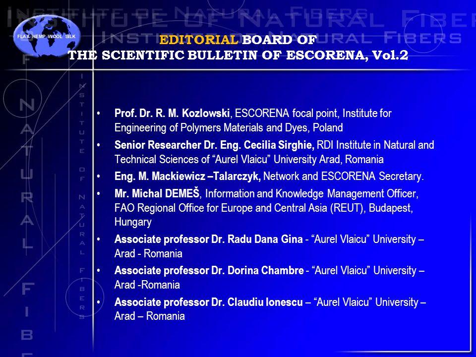 EDITORIAL BOARD OF THE SCIENTIFIC BULLETIN OF ESCORENA, Vol.2 Prof.