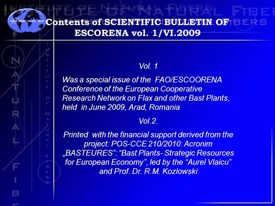 Contents of SCIENTIFIC BULLETIN OF ESCORENA vol. 1/VI.2009 Vol.
