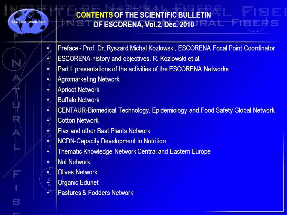 CONTENTS OF THE SCIENTIFIC BULLETIN OF ESCORENA, Vol.2, Dec.