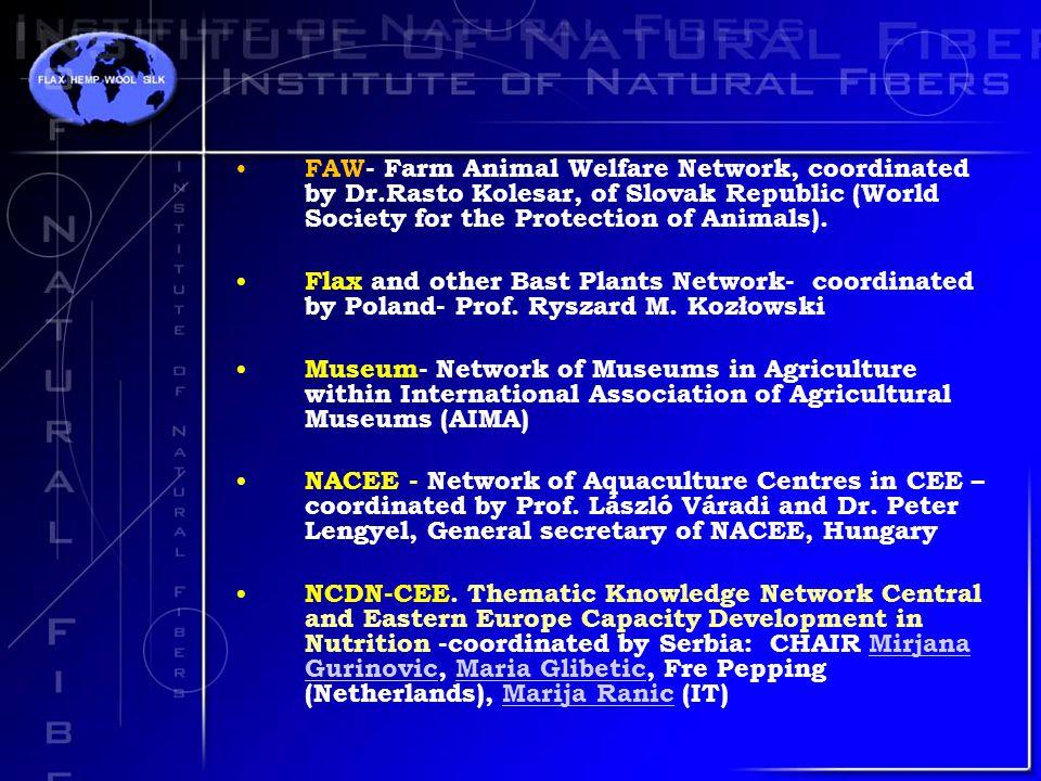 FAW- Farm Animal Welfare Network, coordinated by Dr.Rasto Kolesar, of Slovak Republic (World Society for the Protection of Animals).