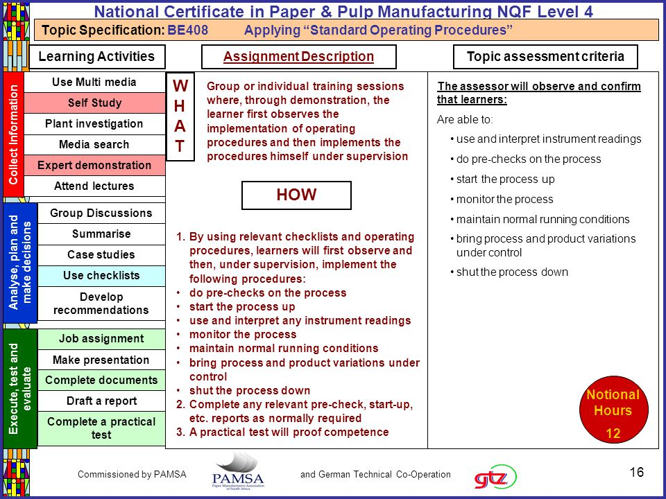 16 Commissioned by PAMSA and German Technical Co-Operation National Certificate in Paper & Pulp Manufacturing NQF Level 4 Topic Specification: BE408 A