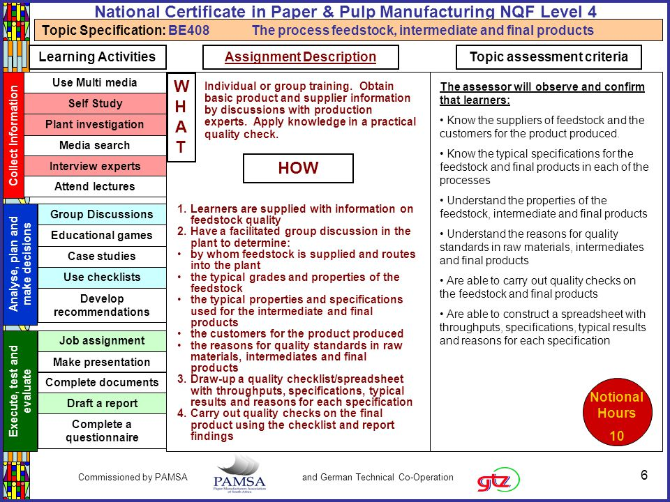 7 Commissioned by PAMSA and German Technical Co-Operation National Certificate in Paper & Pulp Manufacturing NQF Level 4 Critical Cross-field Outcomes Identify and solve problems Work effectively with others Communicate effectively Organise and manage myself and my activities Collect, analyse, organise and critically evaluate information Use science and technology effectively and critically Demonstrate an understanding of the world as a set of related systems Use mathematics Learner and societal development Know the effect of variations and deviations on the processes and products BE408 Understanding variations in the processes Understand what process variations could occur in the processes Be able to complete all log sheets Understand how a deviation in the properties of the feedstock will impact on the processes Understand what feedstock variations could occur in the processes US: U0011Understand properties of fibrous materials used in the pulp and paper industry