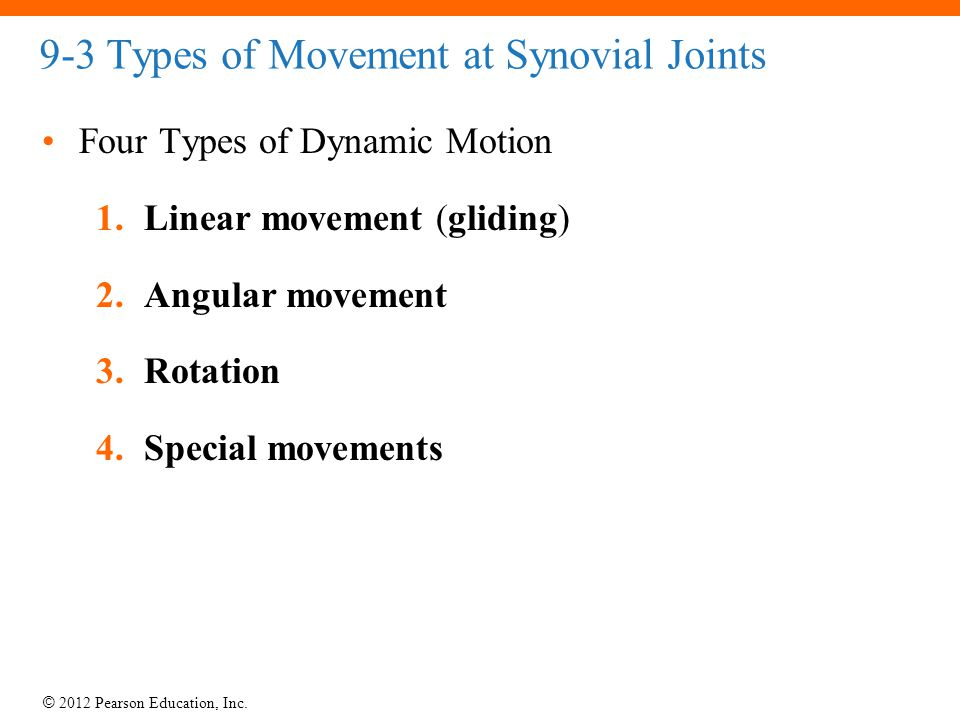 © 2012 Pearson Education, Inc. 9-3 Types of Movement at Synovial Joints Four Types of Dynamic Motion 1.Linear movement (gliding) 2.Angular movement 3.
