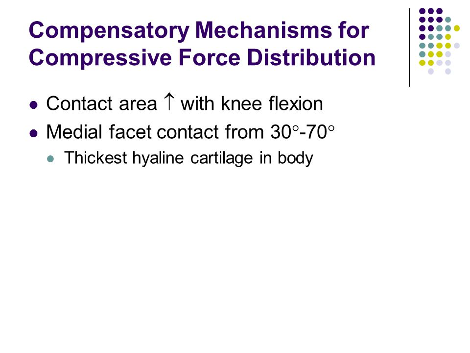 Compensatory Mechanisms for Compressive Force Distribution Contact area  with knee flexion Medial facet contact from 30  -70  Thickest hyaline cartilage in body