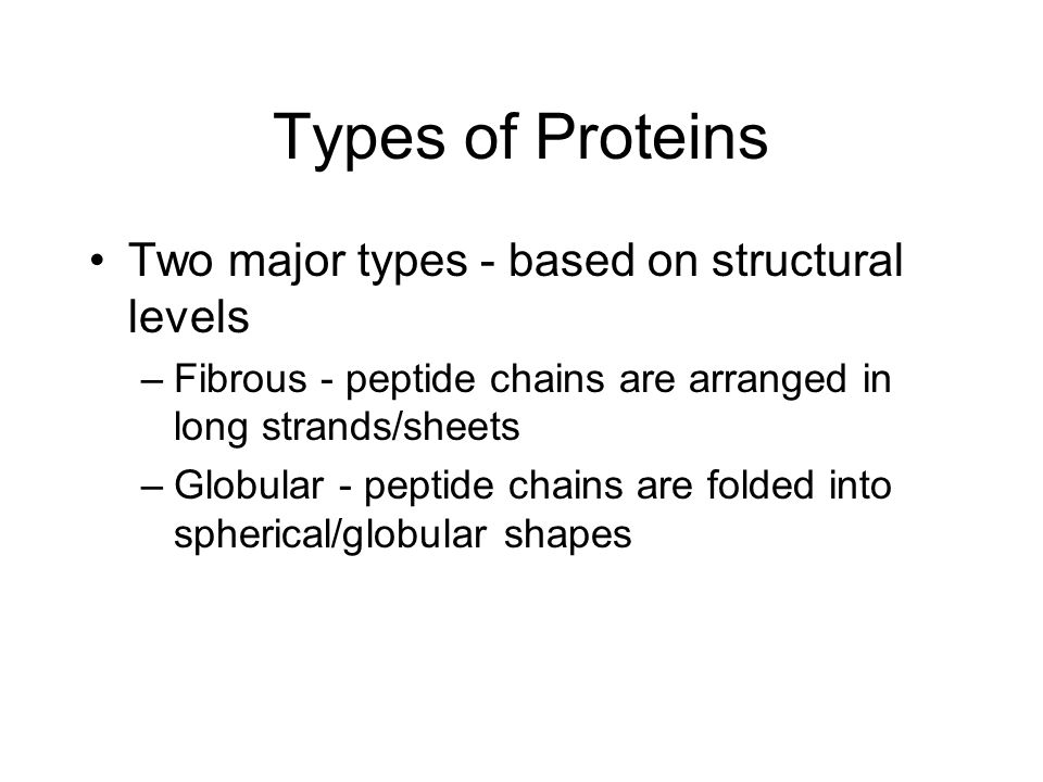 Types of Proteins Two major types - based on structural levels –Fibrous - peptide chains are arranged in long strands/sheets –Globular - peptide chains are folded into spherical/globular shapes