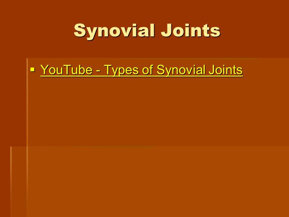 Synovial Joints  YouTube - Types of Synovial Joints YouTube - Types of Synovial Joints YouTube - Types of Synovial Joints