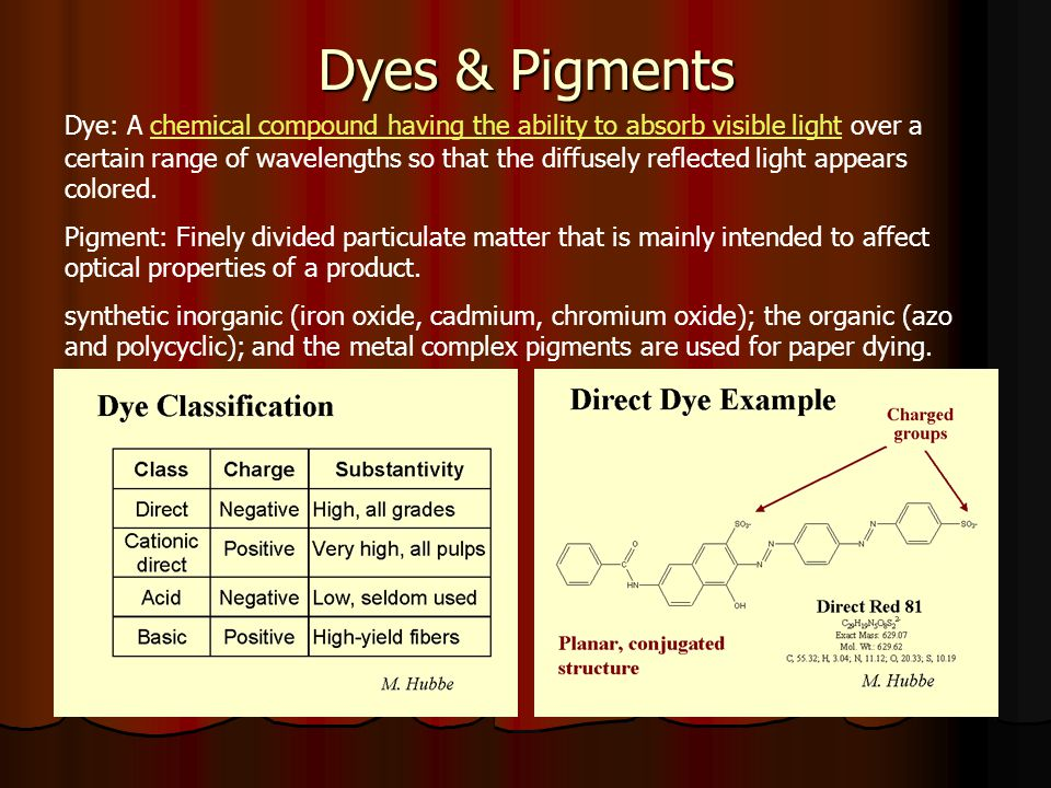 Dyes & Pigments Dye: A chemical compound having the ability to absorb visible light over a certain range of wavelengths so that the diffusely reflected light appears colored.chemical compound having the ability to absorb visible light Pigment: Finely divided particulate matter that is mainly intended to affect optical properties of a product.