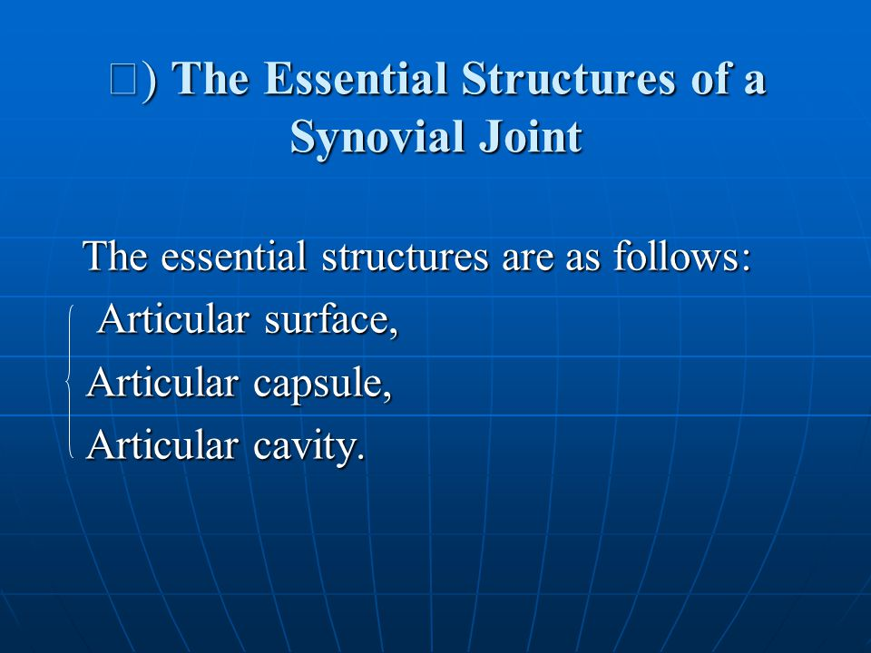 Ⅰ ) The Essential Structures of a Synovial Joint The essential structures are as follows: The essential structures are as follows: Articular surface, Articular surface, Articular capsule, Articular capsule, Articular cavity.