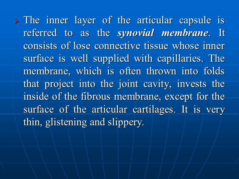  The inner layer of the articular capsule is referred to as the synovial membrane.
