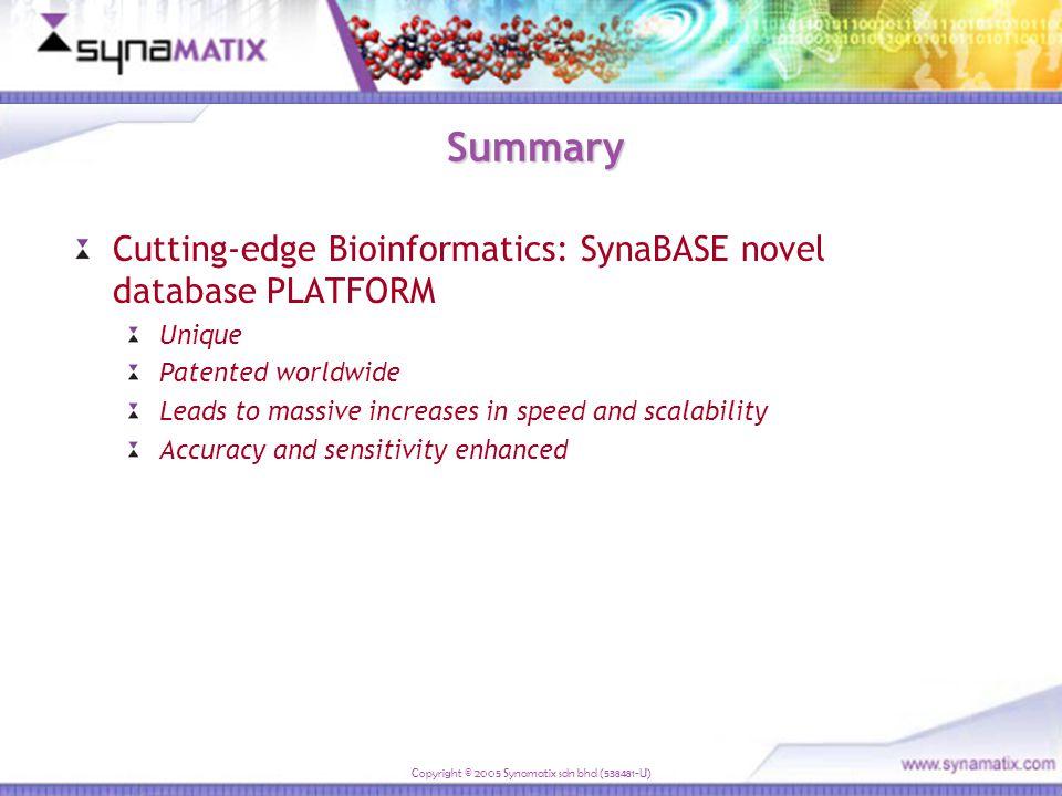 Copyright © 2005 Synamatix sdn bhd (538481-U) All Bacteria genomes