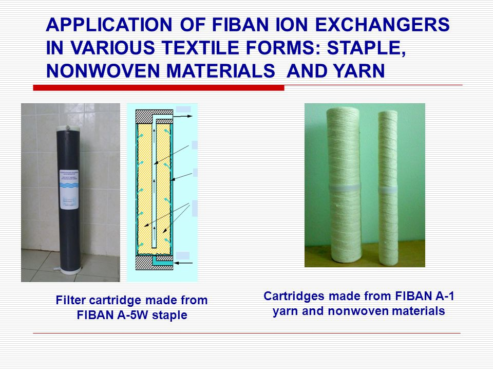 APPLICATION OF FIBAN ION EXCHANGERS IN VARIOUS TEXTILE FORMS: STAPLE, NONWOVEN MATERIALS AND YARN Filter cartridge made from FIBAN A-5W staple Cartridges made from FIBAN A-1 yarn and nonwoven materials