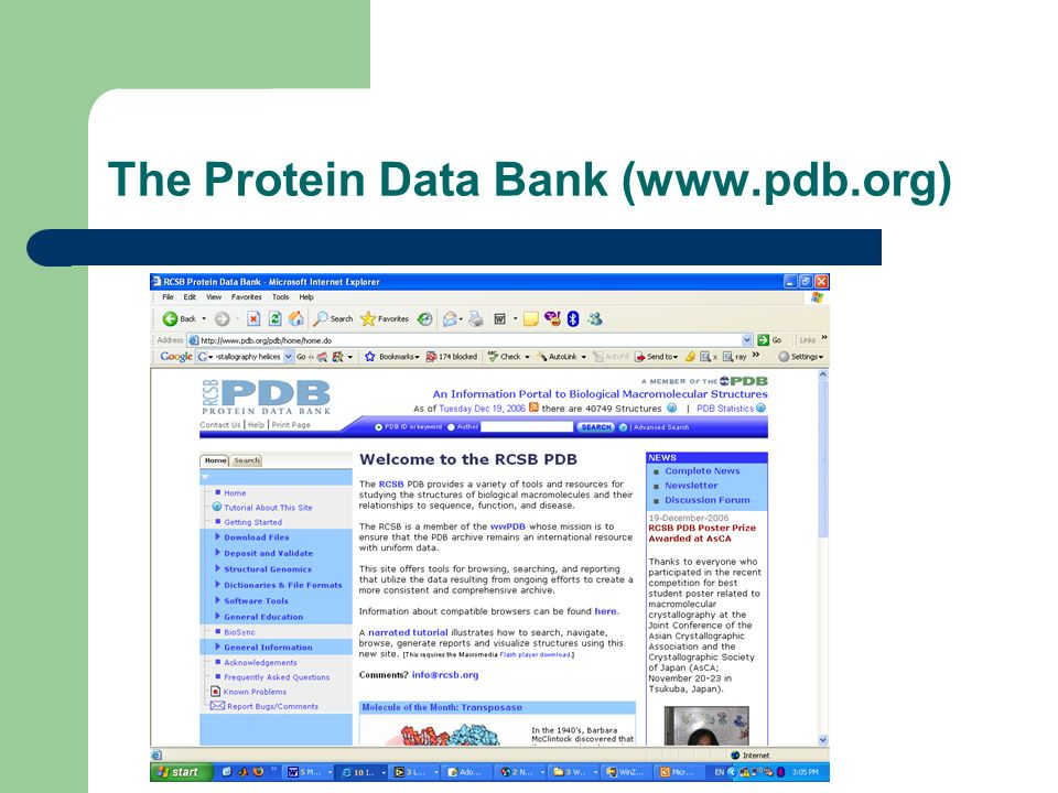 The Protein Data Bank (www.pdb.org)