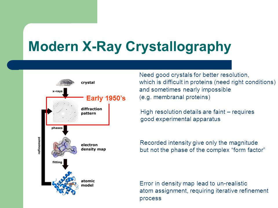 Historical perspective to Pauling and Corey paper series X-ray crystallography, invented in the beginning of the 20'th century, has been used to solve structures of some amino-acids, synthetic polymers (poly-glu) and small organic molecules Some fibrous materials such as wool and α-keratin are sufficiently crystalline to give diffraction patterns Evidence suggested that these proteins' structure involve mainly translation and rotation