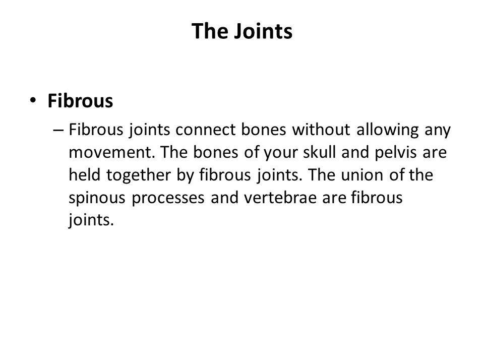 The Joints Fibrous – Fibrous joints connect bones without allowing any movement. The bones of your skull and pelvis are held together by fibrous joint
