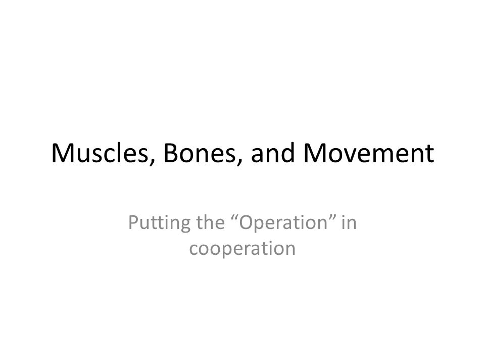"""Muscles, Bones, and Movement Putting the """"Operation"""" in cooperation"""