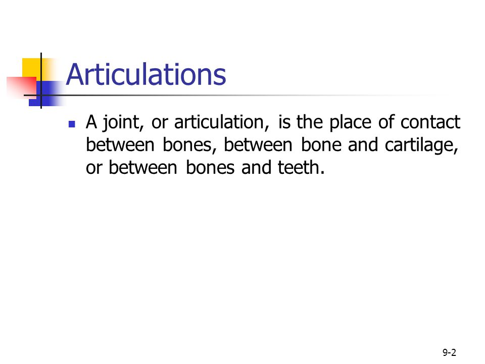 9-2 Articulations A joint, or articulation, is the place of contact between bones, between bone and cartilage, or between bones and teeth.