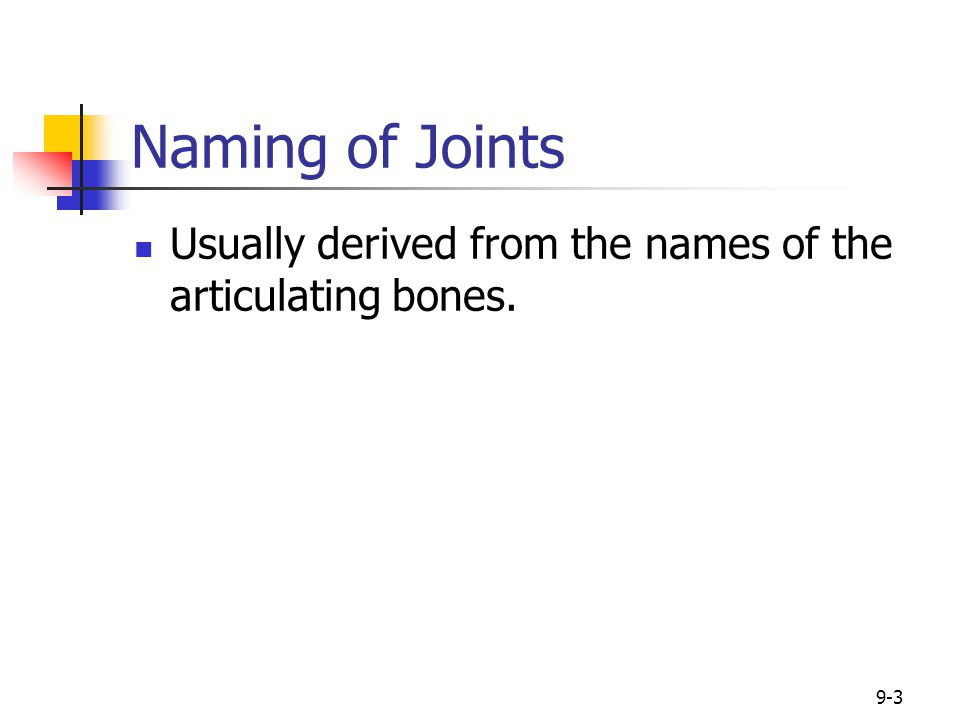 9-3 Naming of Joints Usually derived from the names of the articulating bones.