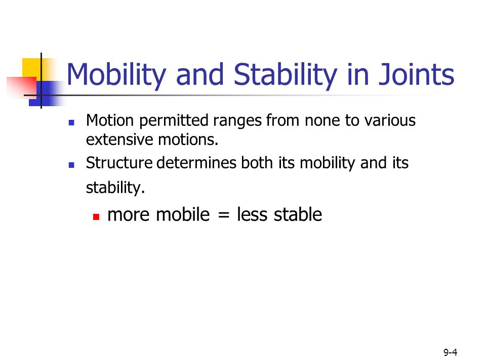9-4 Mobility and Stability in Joints Motion permitted ranges from none to various extensive motions. Structure determines both its mobility and its st