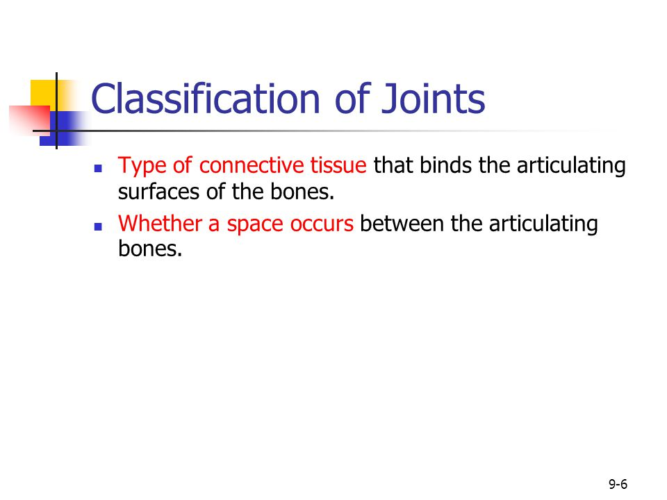 9-6 Classification of Joints Type of connective tissue that binds the articulating surfaces of the bones. Whether a space occurs between the articulat