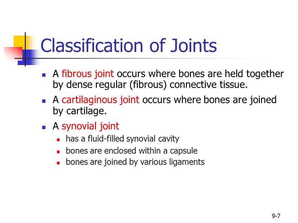 9-8 Classification of Joints Functionally based on the extent of movement they permit: Synarthrosis is an immovable joint.