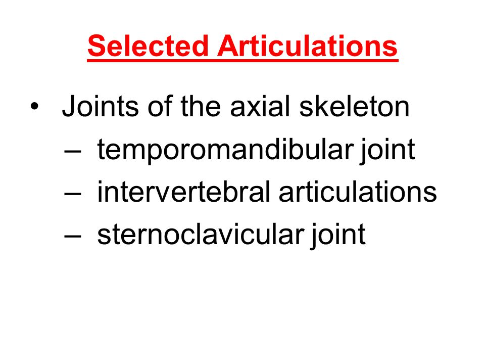 Selected Articulations Joints of the axial skeleton –temporomandibular joint –intervertebral articulations –sternoclavicular joint