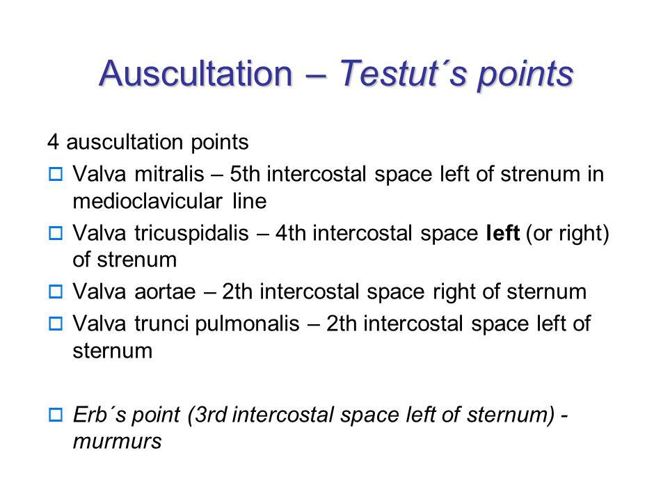 Auscultation – Testut´s points 4 auscultation points  Valva mitralis – 5th intercostal space left of strenum in medioclavicular line  Valva tricuspidalis – 4th intercostal space left (or right) of strenum  Valva aortae – 2th intercostal space right of sternum  Valva trunci pulmonalis – 2th intercostal space left of sternum  Erb´s point (3rd intercostal space left of sternum) - murmurs