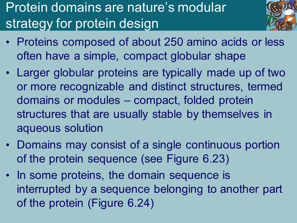 Protein domains are nature's modular strategy for protein design Proteins composed of about 250 amino acids or less often have a simple, compact globu