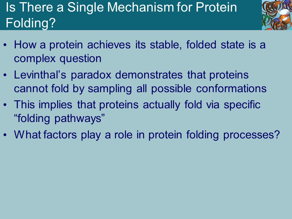 Is There a Single Mechanism for Protein Folding? How a protein achieves its stable, folded state is a complex question Levinthal's paradox demonstrate