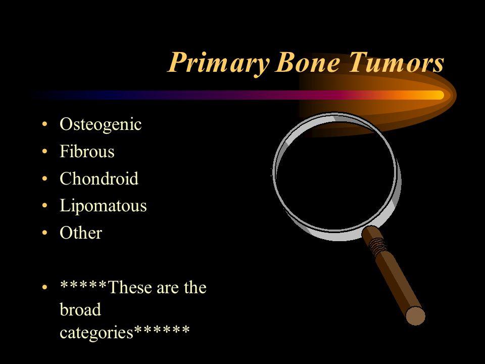 Osteogenic Benign: Osteoma, Osteoid Osteoma, Bone Islands Benign Aggressive: Osteoblastoma Malignant: Osteogenic Sarcoma