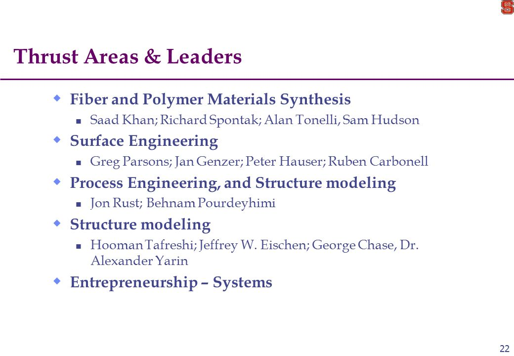 22 Thrust Areas & Leaders  Fiber and Polymer Materials Synthesis Saad Khan; Richard Spontak; Alan Tonelli, Sam Hudson  Surface Engineering Greg Parsons; Jan Genzer; Peter Hauser; Ruben Carbonell  Process Engineering, and Structure modeling Jon Rust; Behnam Pourdeyhimi  Structure modeling Hooman Tafreshi; Jeffrey W.