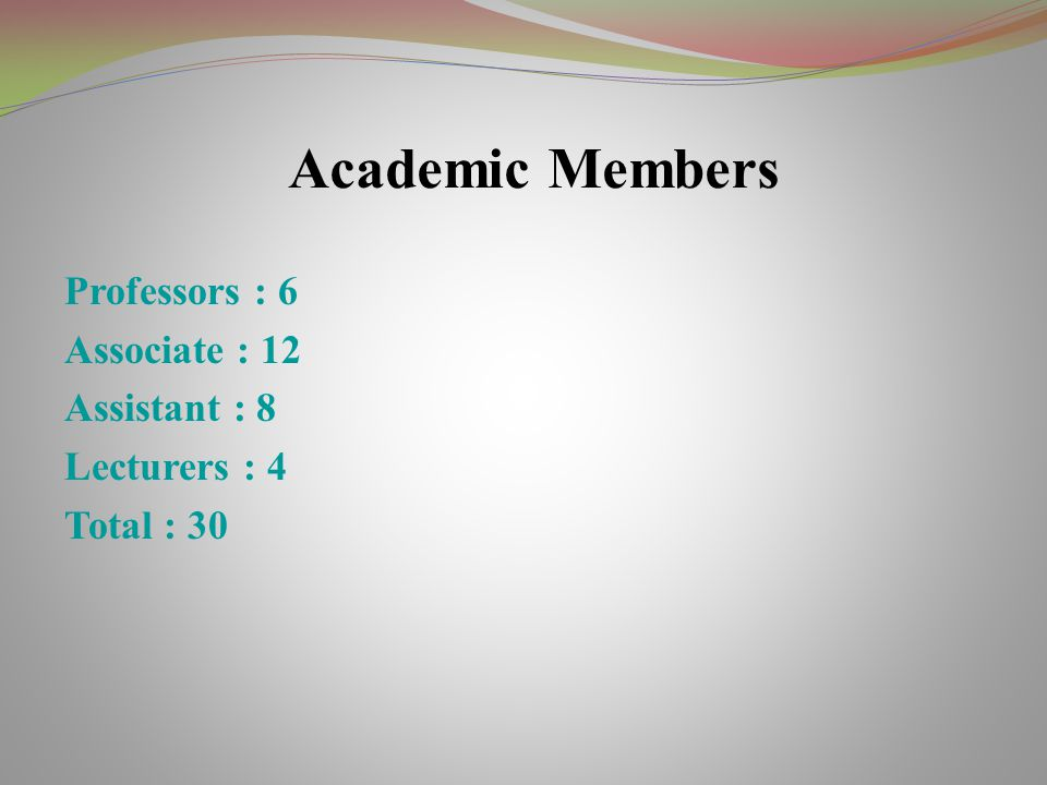 Academic Members Professors : 6 Associate : 12 Assistant : 8 Lecturers : 4 Total : 30