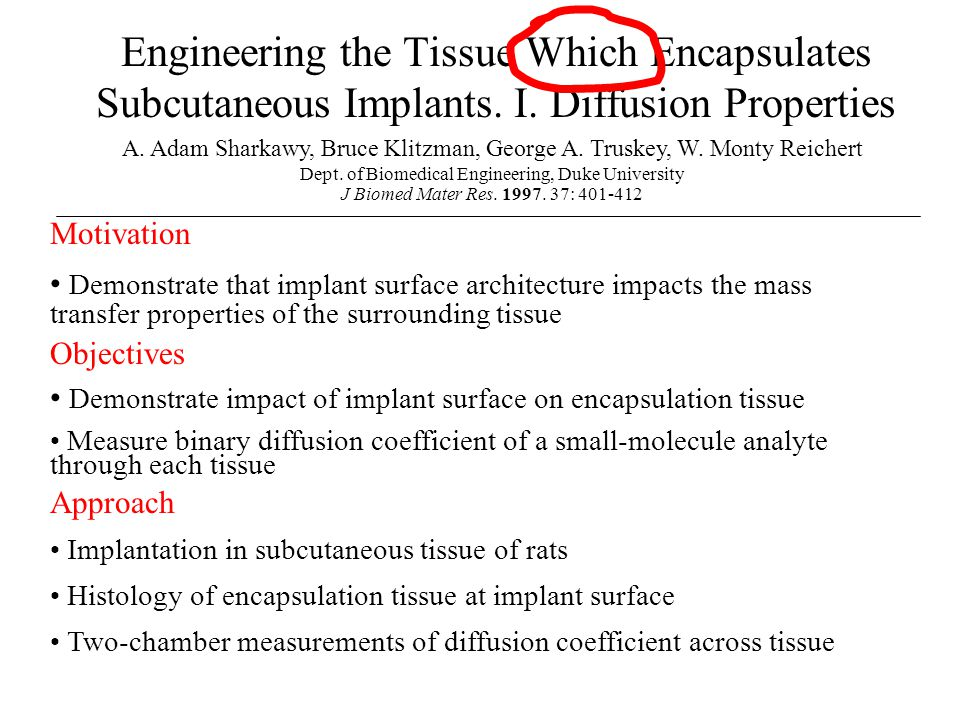 Engineering the Tissue Which Encapsulates Subcutaneous Implants. I. Diffusion Properties A. Adam Sharkawy, Bruce Klitzman, George A. Truskey, W. Monty