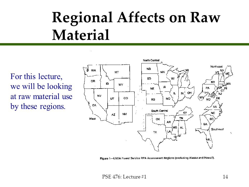 PSE 476: Lecture #114 Regional Affects on Raw Material For this lecture, we will be looking at raw material use by these regions.