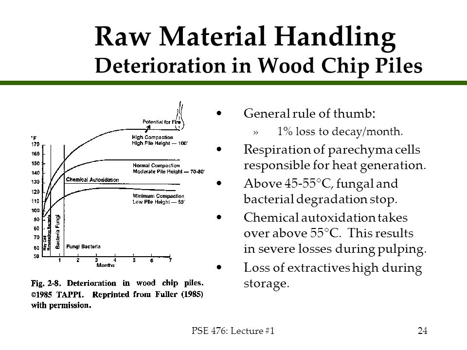 PSE 476: Lecture #124 Raw Material Handling Deterioration in Wood Chip Piles General rule of thumb : »1% loss to decay/month. Respiration of parechyma
