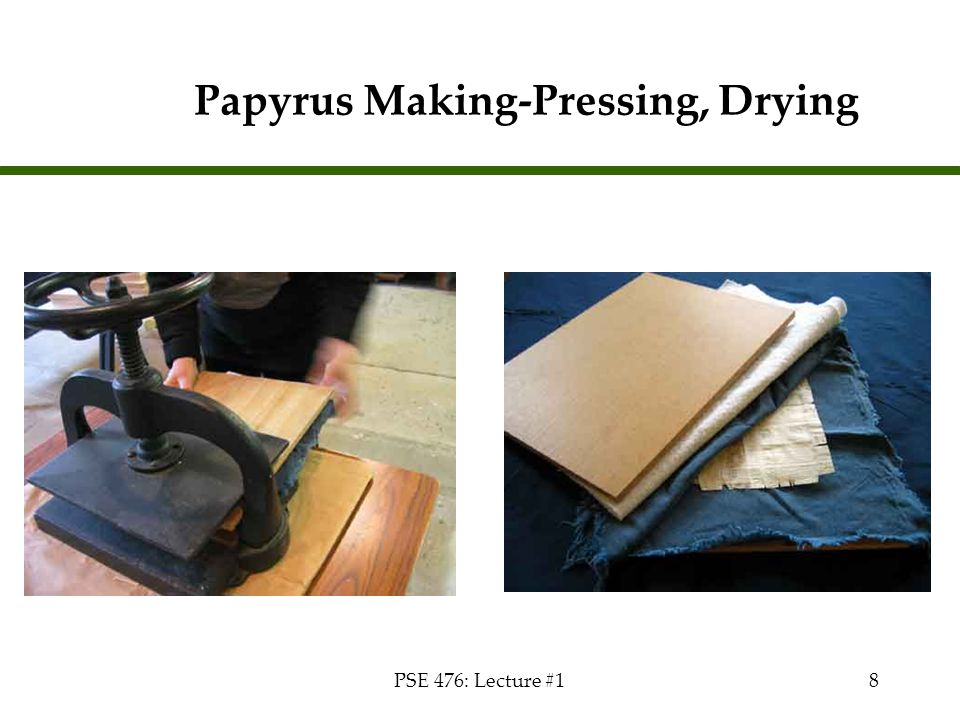 PSE 476: Lecture #18 Papyrus Making-Pressing, Drying